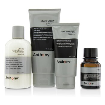 Anthony Logistics For Men The Perfect Shave Kit: Cleanser + Pre-Shave Oil + Shave Cream + After Shave Cream
