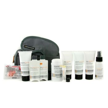 Menscience Travel Kit: Face Wash + Lotion + Shave Formula + Post-Shave Repair + Shampoo + Deodorant + Lip Protection + Eye Mask + Ear Plugs + Bag