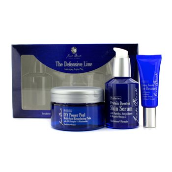Jack Black The Defensive Line Anti-Aging Triple Play: Protein Booster Eye Resuce + DIY Power Peel Multi-Acid Resurfacing Pads + Protein Booster Skin Serum