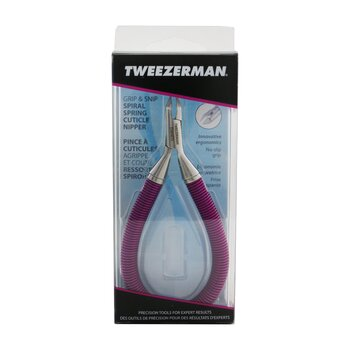 Tweezerman Grip & Snip Spiral Spring Cuticle Nipper - # Lollypop Berry