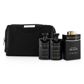 Bvlgari In Black Coffret: Eau De Parfum Spray 100ml + After Shave Balm 75ml + Shower Gel 75ml + Pouch