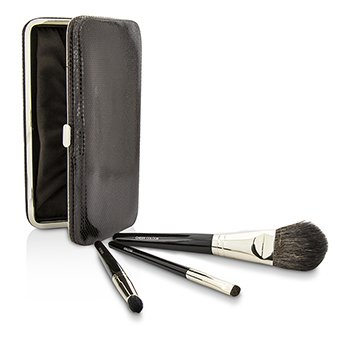 Laura Mercier Travel Brush Kit: 1x Cheek Colour Brush, 1x Smudge Brush, 1x Eye Crease Brush, 1x Case (Unboxed)