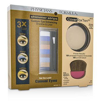 physicians Formula Makeup Set 8658: 1x Shimmer Strips Eye Enhancing Shadow, 1x CoverToxTen50 Face Powder, 1x Applicator