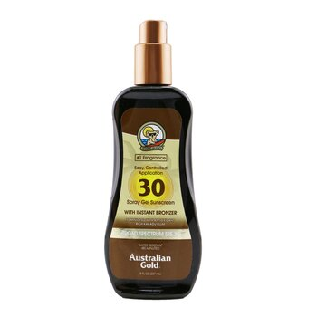 Australian Gold Spray Gel Sunscreen Broad Spectrum SPF 30 with Instant Bronzer