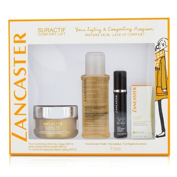 Lancaster Suractif Comfort Lift Rich Set: Rich Day Cream 50ml+ Serum Youth Renewal 10ml+ Lifting Eye Cream 3ml+ Express Cleanser 100ml