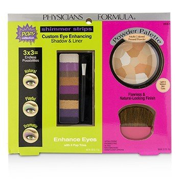 Physicians Formula Makeup Set 8661: 1x Shimmer Strips Eye Enhancing Shadow, 1x Powder Palette, 1x Applicator (Box Slightly Damaged)