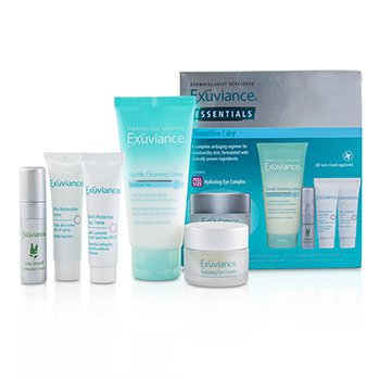 Exuviance Essentials Kit (Normal/ Combination): Cleansing Gel + Eye Complex + Masque + Evening Complex + Perfect 10 Serum (Box Slightly Damaged)