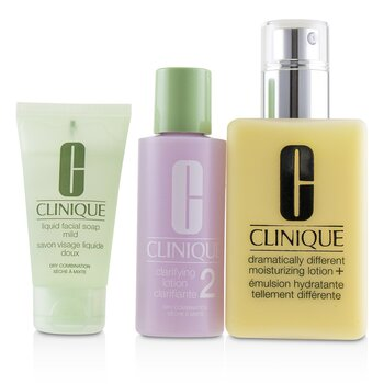 Clinique 3-Step Skin Care System (Skin Type 2): DDML+ 200ml + Clarifying Lotion 2 60ml + Liquid Facial Soap Mild 30ml