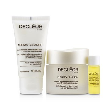 Decleor Stop.Breathe.Relax Holiday Kit:Cleansing Mousse 50ml+ Hydrating Oil Serum 5ml+ 24hr Hydrating Light Cream 50ml