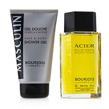 Bourjois Masculin Coffret: Acier Eau De Toilette Spray 100ml+Hair & Body Shower Gel 150ml