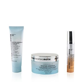 Peter Thomas Roth Hydration Glow-Up Kit: 1x Water Drench Cleanser 30ml + 1x Water Drench Moisturizer 50ml + 1x Potent-C Power Serum 10ml