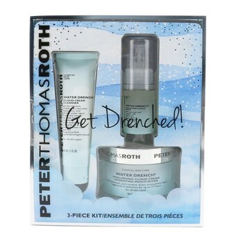 Peter Thomas Roth Get Drenched 3-Piece Kit: Cleanser 30ml + Hyaluronic Cloud Serum 15ml + Hydrating Moisturizer 50ml