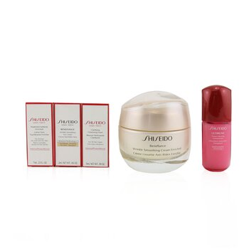 Shiseido Anti-Wrinkle Ritual Benefiance Wrinkle Smoothing Cream Enriched Set (For Dry Skin): Wrinkle Smoothing Cream Enriched 50ml + Cleansing Foam 5ml + Softener Enriched 7ml + Ultimune Concentrate 10ml + Wrinkle Smoothing Eye Cream 2ml