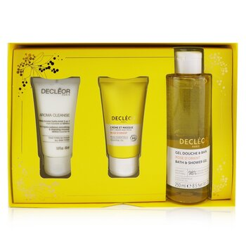Decleor Infinite Soothing Rose Damascena Skincare Set: Aroma Cleanse Cleansing Mousse+ Day Cream & Mask+ Bath & Shower Gel
