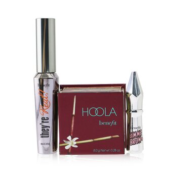 Benefit Bestsellers On Board Set: Hoola Matte Powder Bronzer 8g + Theyre Real!  Mascara 8.5g + Mini Gimme Brow Gel 1.5g