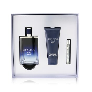Jimmy Choo Man Blue Coffret: Eau De Toilette Spray 100ml + After Shave Balm 100ml + Eau De Toilette Spray 7.5ml