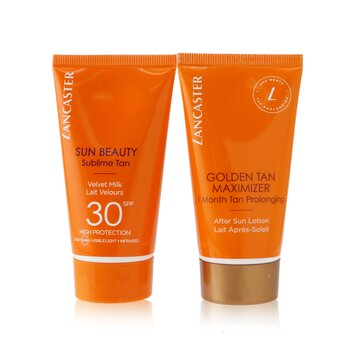 Lancaster Summer Is A State of Mind Set: 1x Sun Beauty Sublime Tan Velvet Milk SPF 30 - 50ml + 1x Golden Tan Maximizer After Sun Lotion - 50ml