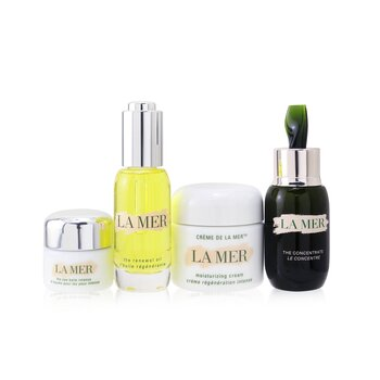 La Mer The Most-Covered Travel Collection: 1x The Concentrate - 30ml + 1x The Eye Balm Intense - 15ml + 1x The Renewal Oil - 30ml + 1x Cream De La Mer The Moisturizing Cream - 60ml + 1x Bag