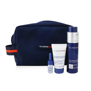 Clarins Men Expert Firming Essentials Set: Line-Control Balm 50ml + Shampoo & Shower 30ml + Shave Ease oil 3ml
