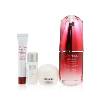 Shiseido Ultimate Hydrating Glow Set: Ultimune Power Infusing Concentrate 30ml + Moisturizing Gel Cream 10ml + Eye Concentrate 5ml + SPF 42 Sunscreen 7ml (Box Slightly Damaged)