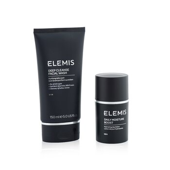 Elemis Mens Grooming Duo Set: Deep Cleanser Facial Wash 150ml + Daily Moisture Boost 50ml