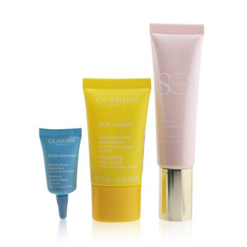 Clarins SOS Beaute Set (1x Primer 30ml + 1x Mask 15ml + 1x Lip Balm 3ml) - 01 Rose