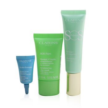 Clarins SOS Beaute Set (1x Primer 30ml + 1x Mask 15ml + 1x Lip Balm 3ml) - 04 Green