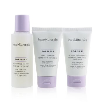 BareMinerals Poreless At Any Age Starter Kit: Clay Cleanser 30ml+Exfoliating Essence 50ml+Oil-Free Moisturizer 30ml (Box Slightly Damaged)