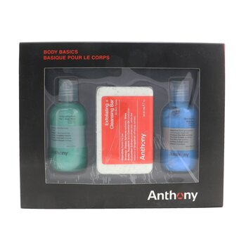 Anthony Body Basics Kit: Invigorating Rush Hair+Body Wash 100ml + Exfoliating + Cleansing Bar 198g + Blue Sea kelp Body Scrub 100ml