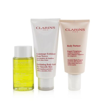 Clarins A Beautiful Pregnancy Set: Body Partner 175ml+ Exfoliating Body Scrub 200ml+ Body Treatment Oil-Tonic 100ml