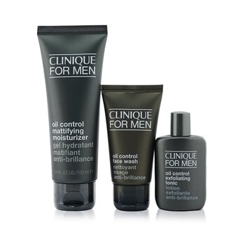 Clinique Great Skin For Men Oil Control 3-Pieces Set : Face Wash 50ml +  Exfoliating Tonic 30ml + Mattifying Moisturizer 100ml
