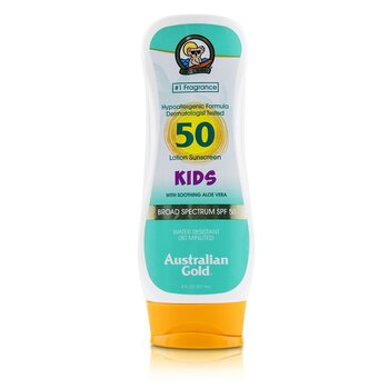 Australian Gold Lotion Sunscreen Broad Spectrum SPF 50 with Soothing Aloe Vera - For Kids (Exp. Date: 05/2021)