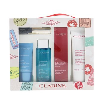 Clarins Clarins With Love From Suitcase Set (1x Eclat Minute Instant Light Natural Lip Perfector - #01, 1x Gentle Foaming Cleanser, 1x Gentle Eye Makeup Remover, 1x Cream, 1x Supra Volume Mascara)